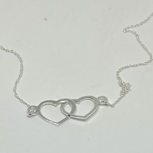 Sterling Silver Double Heart Necklacee